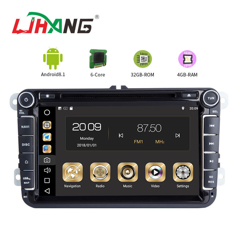 4GB RAM Android Auto Double Din Volkswagen Golf Dvd Player Front Camrea Rear Camera